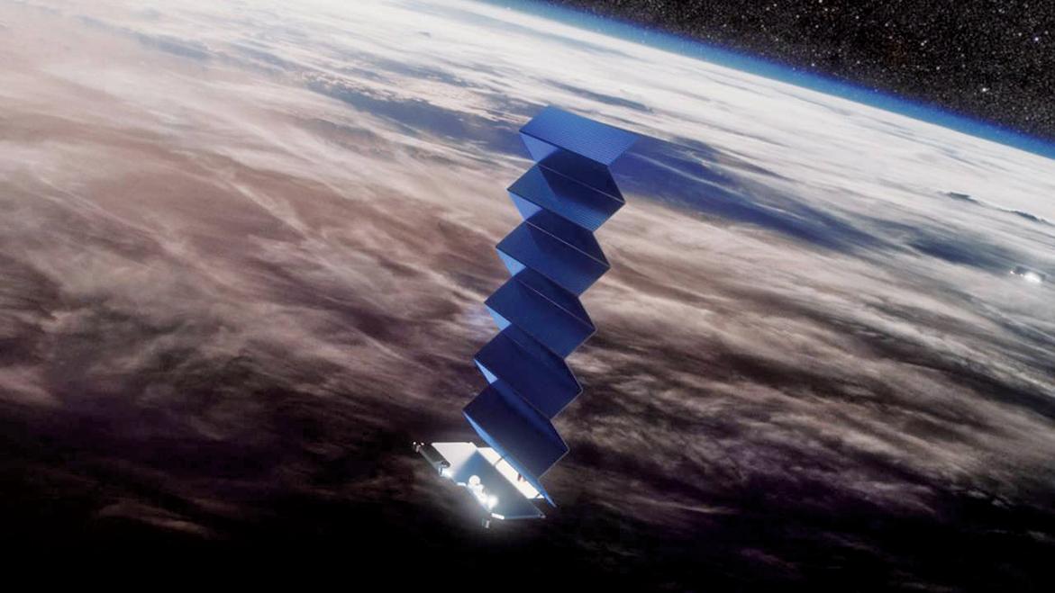 Starlink的衛星有一個巨大的太陽能板。(SpaceX)