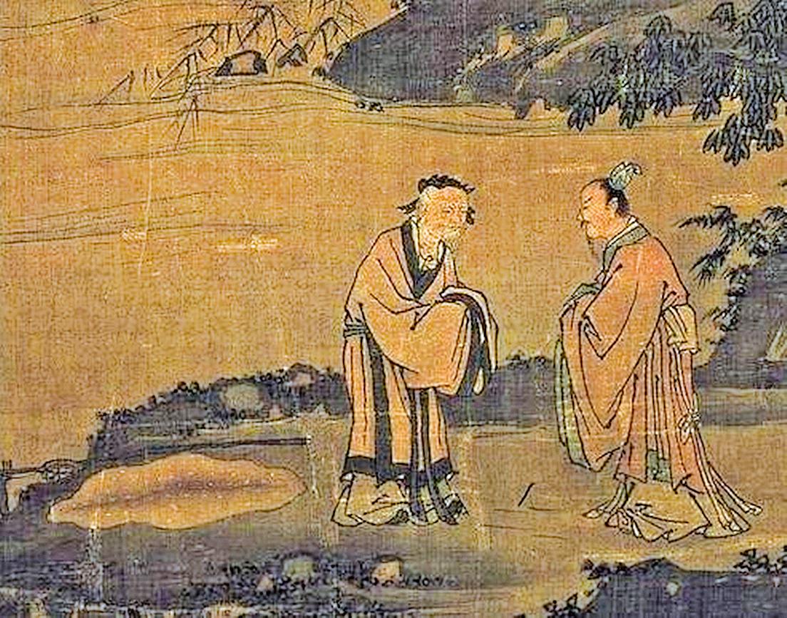 """周文王拜訪在渭水邊隱居垂釣的姜太公,邀請他入朝輔政。圖為明戴進""""渭濱垂釣圖""""局部(公有領域)"""