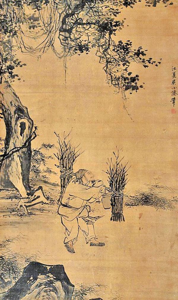 明代著名畫家吳偉《樵夫》(公有領域)