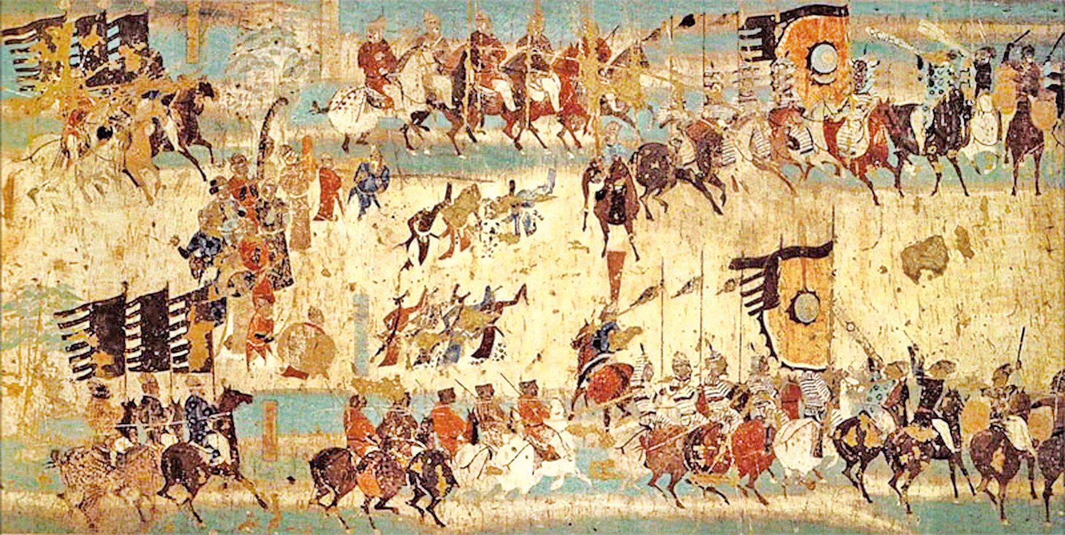 敦煌莫高窟217窟壁畫《破陣樂舞勢圖》(公有領域)