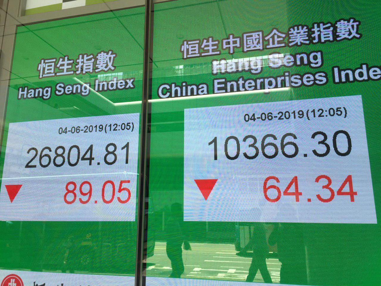 恒生指數中午收市報26,804點,下跌89點;恒生中國企業指數則跌64點,剛好湊成「8964」的數字。(大紀元)