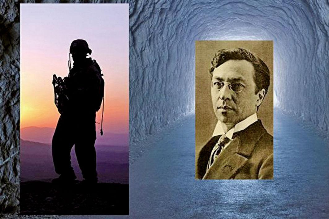 圖右:俄羅斯畫家瓦西里康定斯基,圖左:士兵剪影。(Defence Images/Flickr,公有領域,Shutterstock/大紀元合成)
