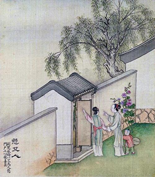 《端陽故事圖》冊之「懸艾人」局部,清徐揚繪。(公有領域)