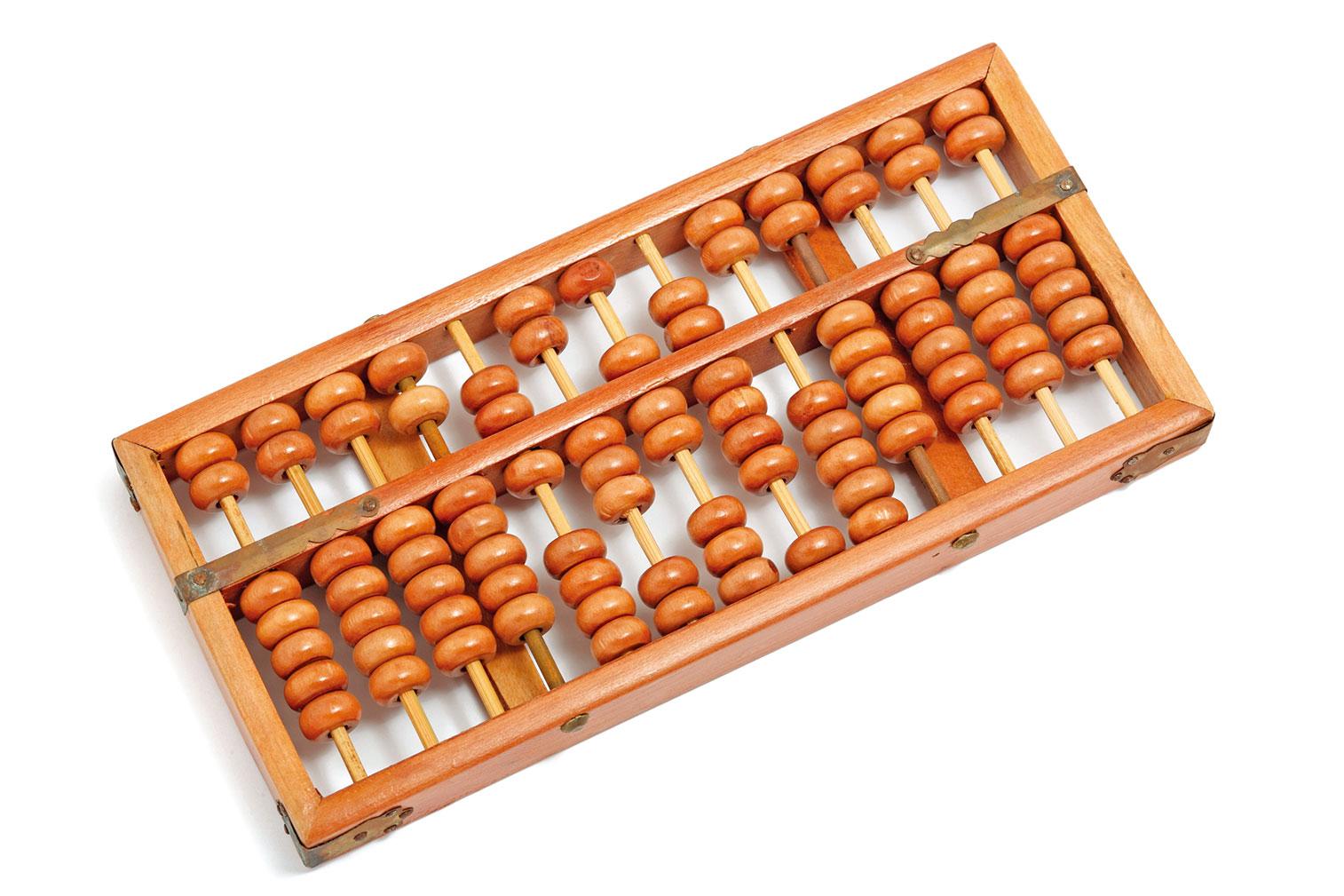 明代後期出現的算盤款式,採用上二珠、下五珠的形式,上一珠當五,下一珠當一。(Shutterstock)