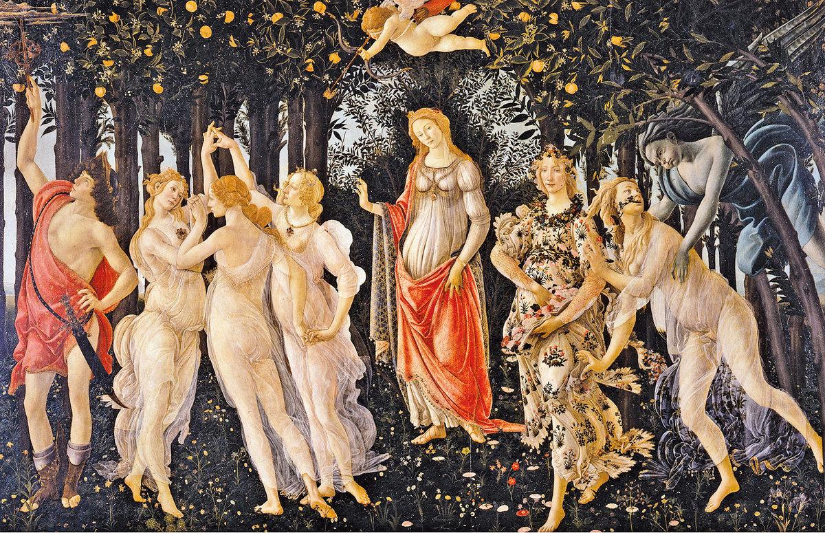[意] 桑德羅波提切利(Sandro Botticelli,1445~1510),《春》(Primavera),木板蛋彩畫,202 × 314 cm,佛羅倫薩烏菲茲美術館藏。