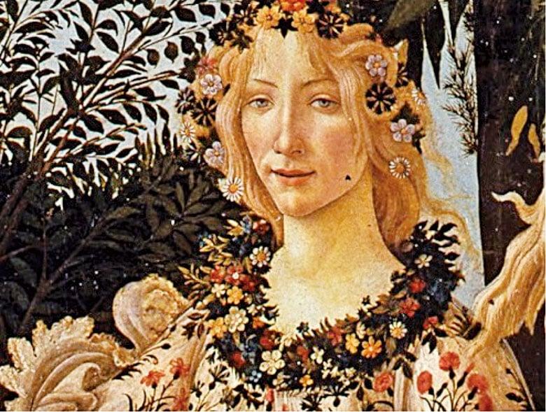 花神芙蘿拉,桑德羅波提切利(Sandro Botticelli)《春》(Primavera)局部。