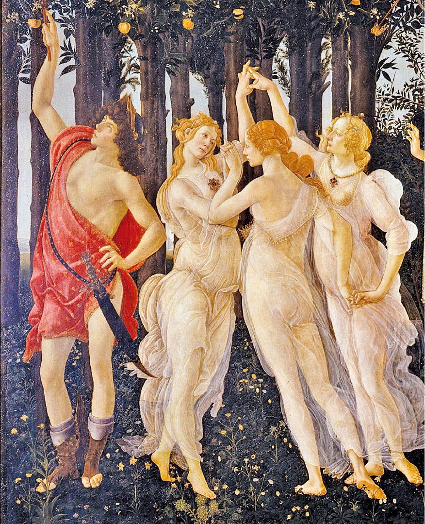美惠三女神與信使墨丘利,桑德羅波提切利(Sandro Botticelli)《春》(Primavera)局部。