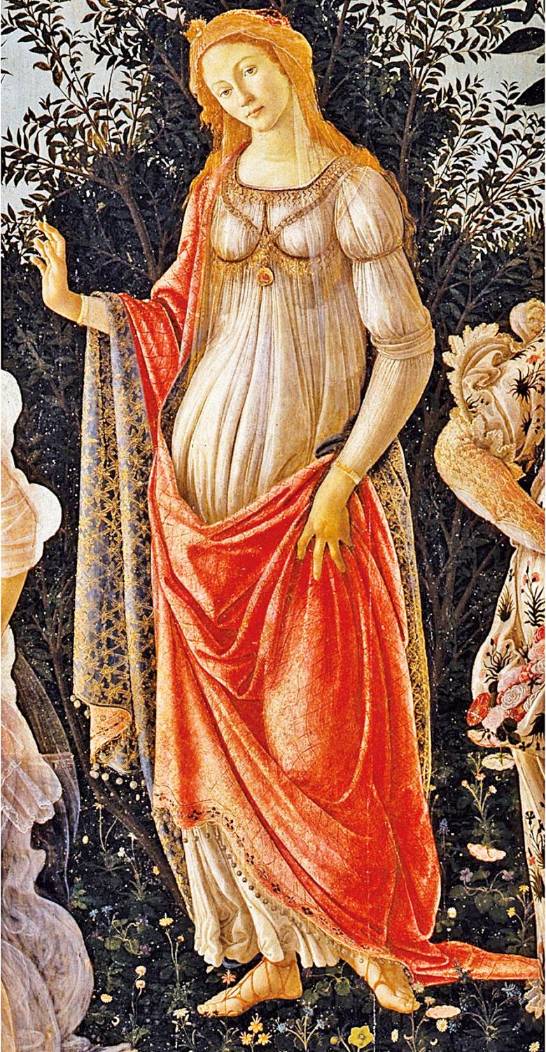 維納斯,桑德羅波提切利(Sandro Botticelli)《春》(Primavera)局部。