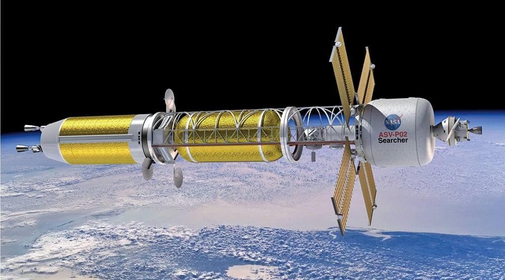 以熱核推進技術為動力的深空探測飛船示意圖。(NASA)