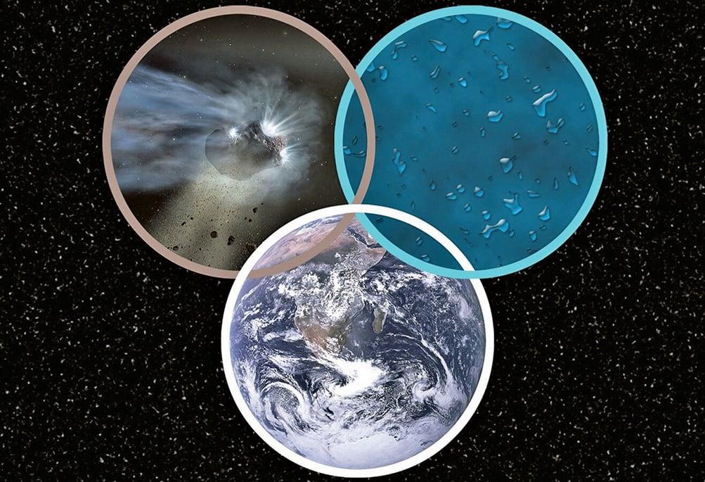 彗星帶來的水和地球海水有相同來源的示意圖。(NASA)