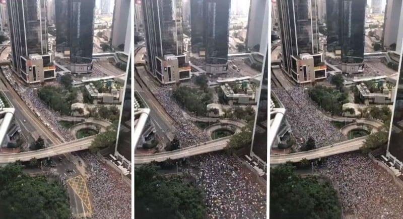 6月9日香港反送中大遊行,103萬民眾參與,震撼全球!(影片截圖)
