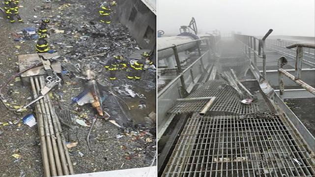一架直升機在紐約曼哈頓大廈頂樓墜毀,駕駛當場喪命。(影片截圖)