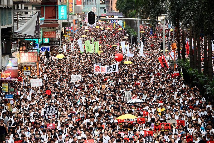 香港人6月9日,用實際行動,反對港府修訂《逃犯條例》,維護香港自治和人權自由。(宋碧龍/大紀元)