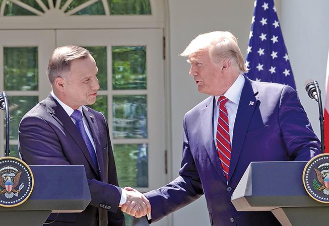 波蘭總統杜達在白宮與美國總統特朗普聯合開記者會。(Getty Images)
