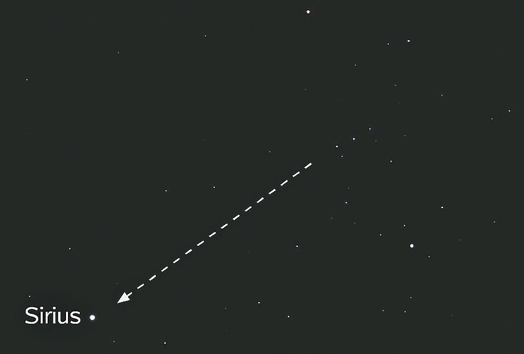 順著獵戶座腰帶上三顆星(右)的方向,就能找到天狼星(左)。(Omnidoom 999/Wikimedia Commons)
