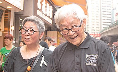 前政務司司長陳方安生和天主教香港教區榮休主教陳日君樞機都再次上街。(蔡雯文/大紀元)