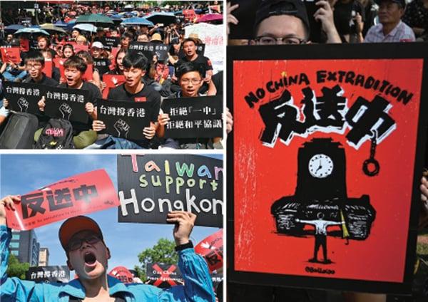 上萬名在台灣的香港學生及台灣民間團體昨日下午在立法院群賢樓外舉行「616撐香港,反送中」活動,聲援香港的6.16反送中大遊行,譴責港府暴力侵犯香港人權。(SAM YEH/AFP/Getty Images)