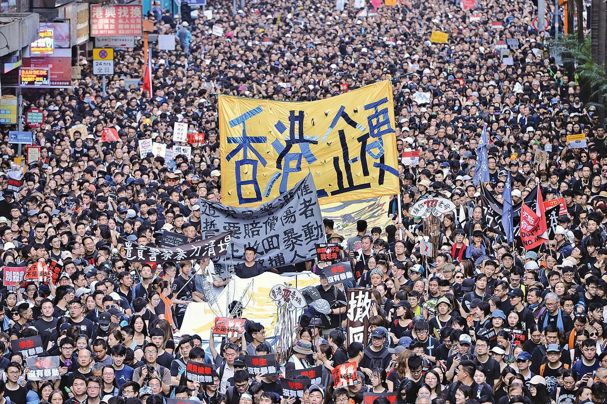 200萬港人上街「反送中」,遊行人數打破歷年記錄,已註定載入史冊。(宋碧龍/大紀元)