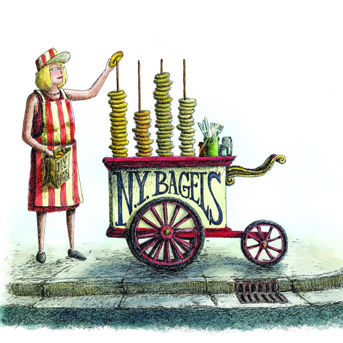 早年在紐約賣貝果的婦女。