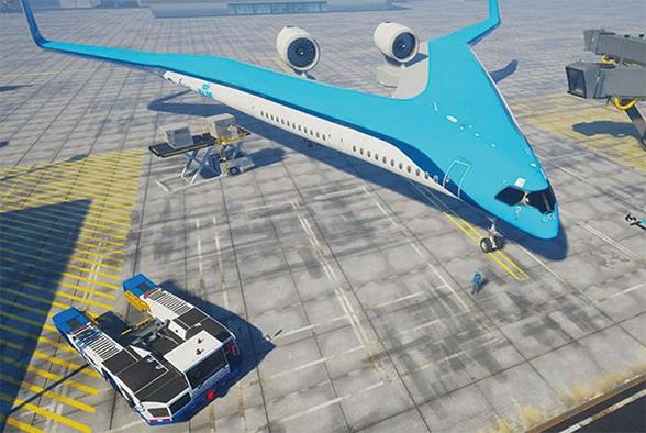 全新「V型」設計的飛機可實現機身和機翼之間更好的協作,機身參與承擔提升飛機的同時也減小了空氣阻力。(Edwin Wallet, Studio OSO)