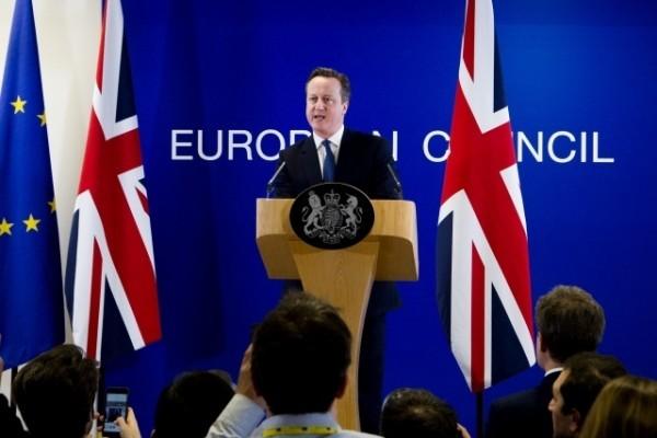 英國首相卡梅倫在今年2月19日與歐盟談判達成協議後的記者會上。(European Union)