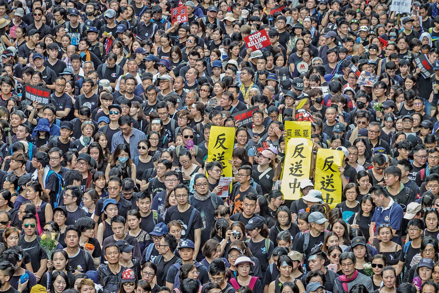 香港200萬人於16日上街反對《逃犯條例》修訂,是香港歷來最大規模的抗議活動。(余鋼/大紀元資料圖片)