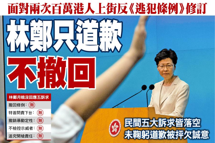 面對兩次百萬港人上街反《逃犯條例》修訂 林鄭只道歉不撤回