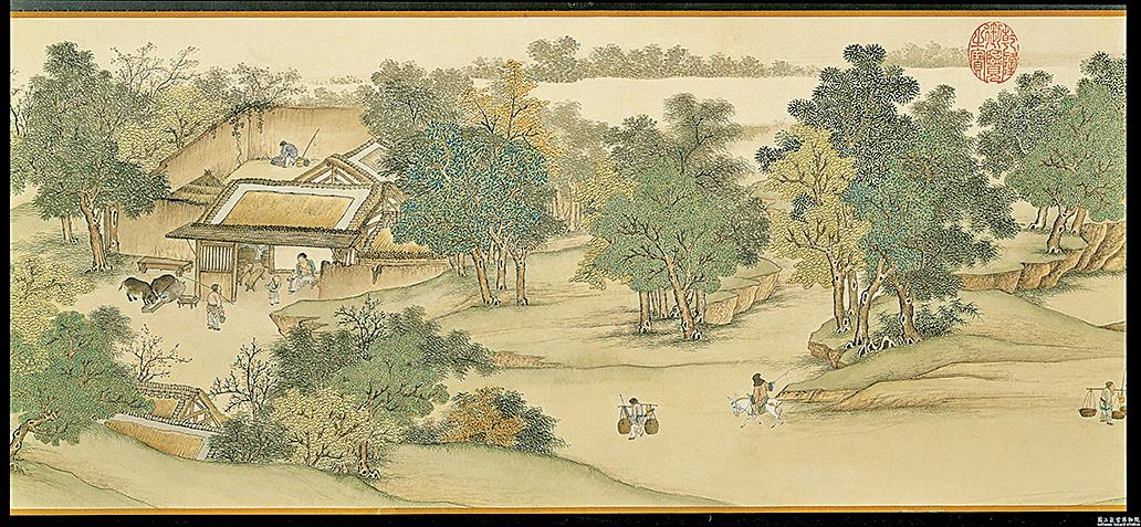 採茶種瓜,山林裏和漁人樵夫常說些家常閒話。圖為清‧謝遂《仿宋院本金陵圖》(公有領域)