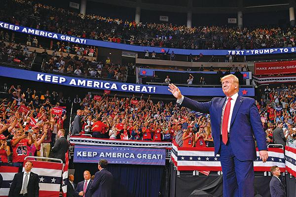 美國總統特朗普當地時間周二(18日)在佛羅里達宣佈競逐連任。(Getty Images)