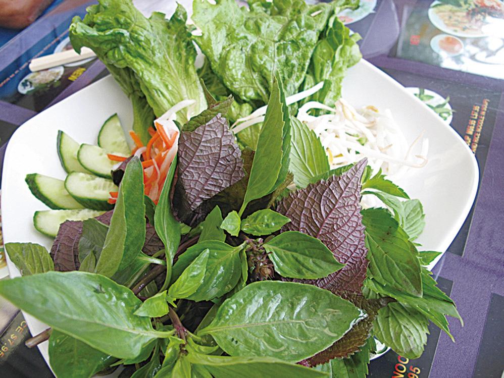 在越南,一盆綠意盎然的嫩菜和香草是就餐的必備伴菜。(以希提供)