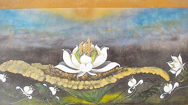 蓮花與佛國樂土也有著密切的關係。圖為台灣藝術家林森津的畫作(楊秋蓮/大紀元)