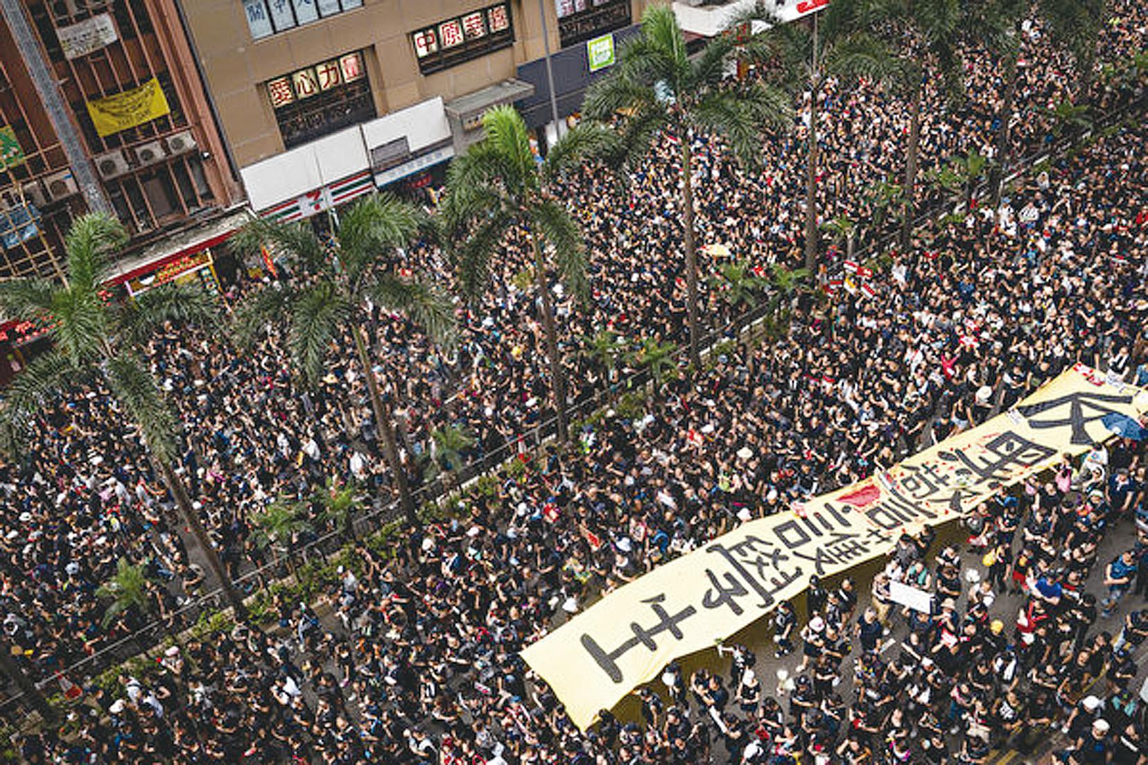 2019年6月16日,香港反送中大遊行,由高空所見,人山人海。(Anthony Kwan/Getty Images)