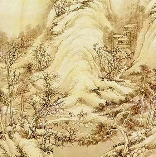 周必大回岳父家前一晚,天降大雪,岳父做了個奇夢——掃雪迎宰相。圖為清‧王鑑《仿李成積雪圖》(公有領域/大紀元合成)