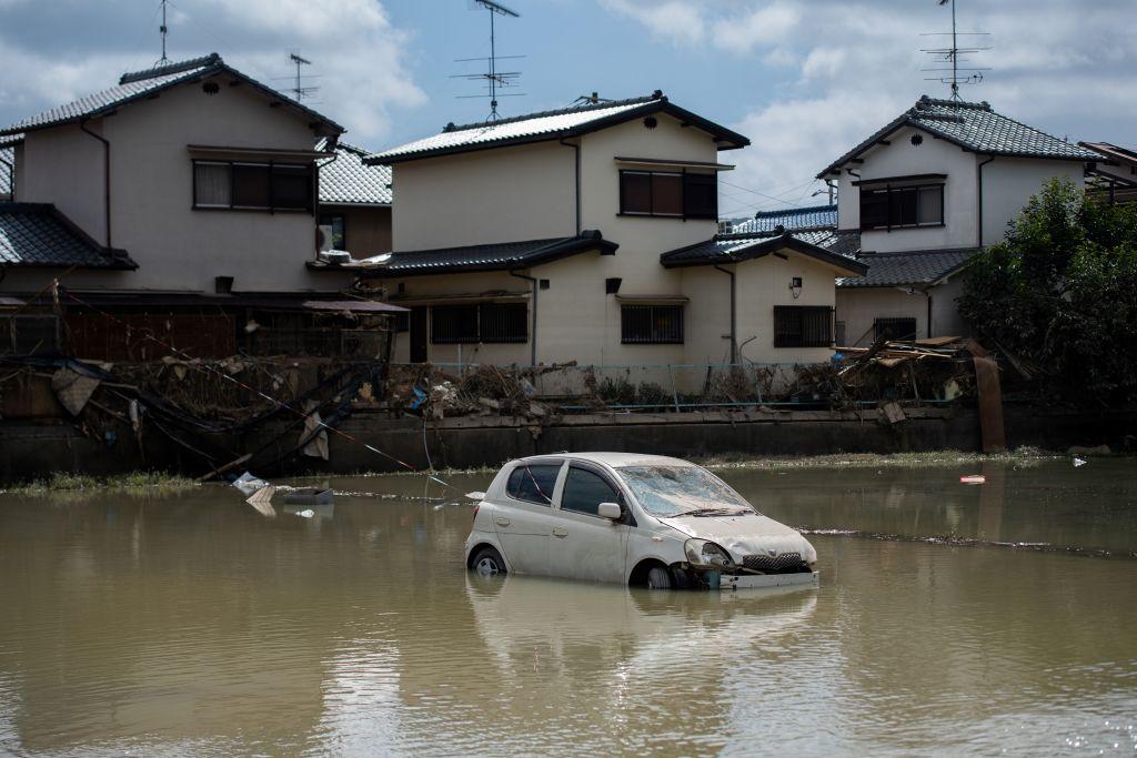 西日本豪雨2018年6月底到7月初重創岡山縣。(MARTIN BUREAU/AFP/Getty Images)