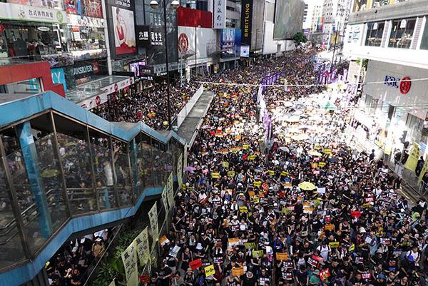55萬港人在七一大遊行再上街抗爭,反對送中惡法,震撼全球。(大紀元資料圖片)