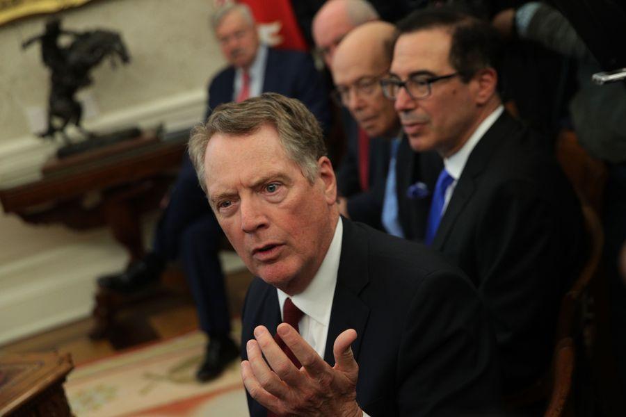 美國貿易代表辦公室7月1日發表聲明,將對額外40億美元的歐盟產品加徵關稅。圖為貿易代表萊特希澤。(Alex Wong/Getty Images)