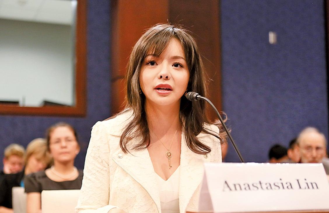 加拿大世界小姐林耶凡在美國國會聽證。(李莎/大紀元)