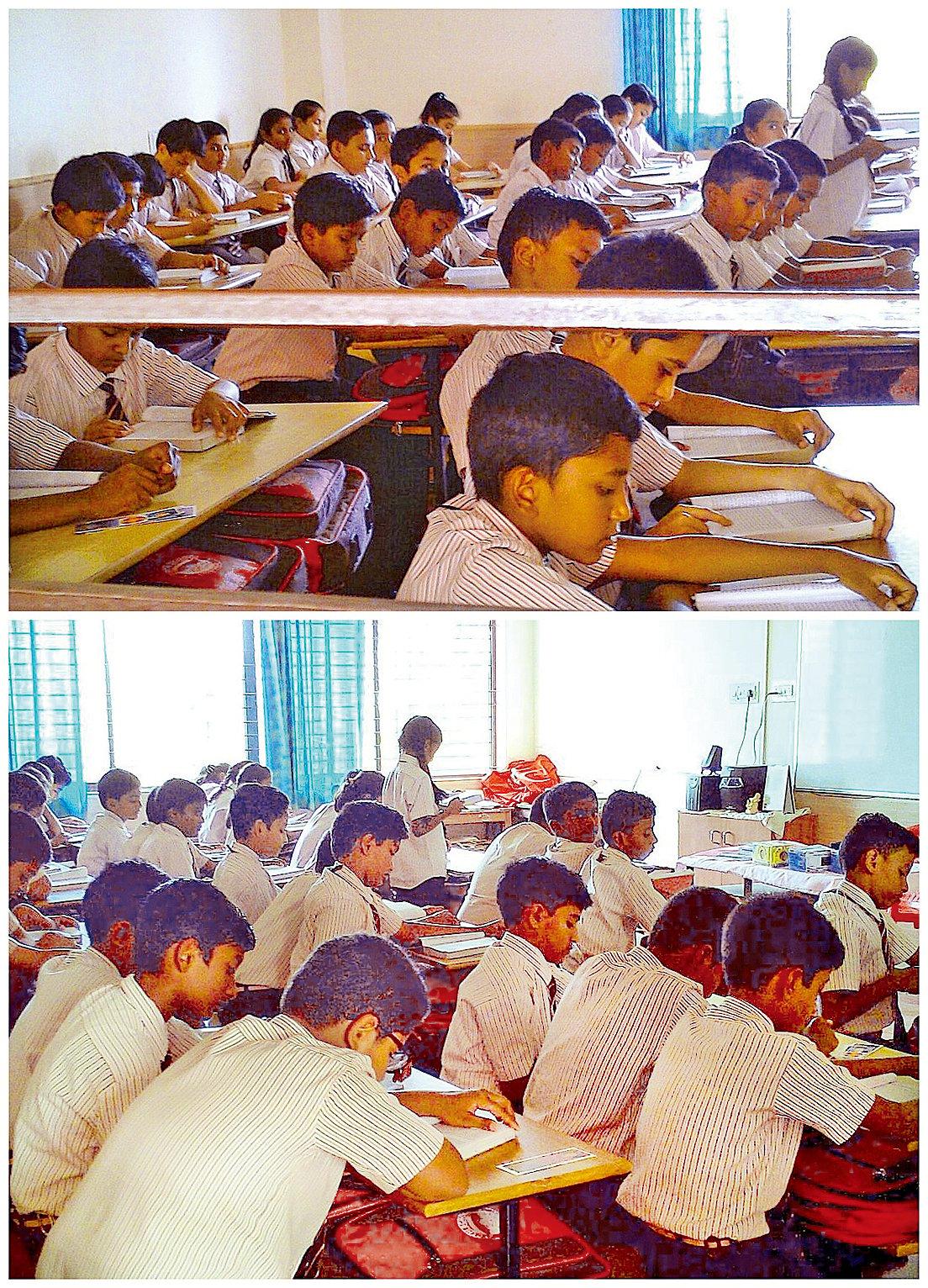 驕狄英語中學高年級的學生在各自的課堂裏讀法輪功的主要著作《轉法輪》。(明慧網)