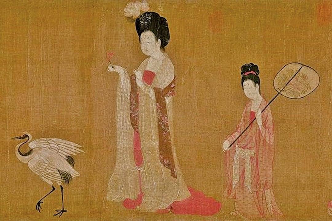 唐 周昉《簪花仕女圖》描繪了唐代的宮廷生活。(公有領域)