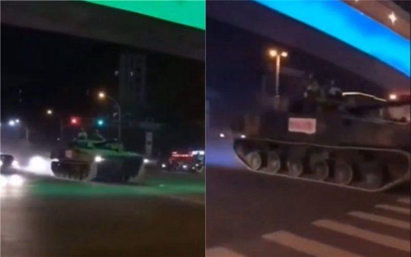 當地民眾拍到坦克車開上街頭。(圖/翻攝自臉書)。