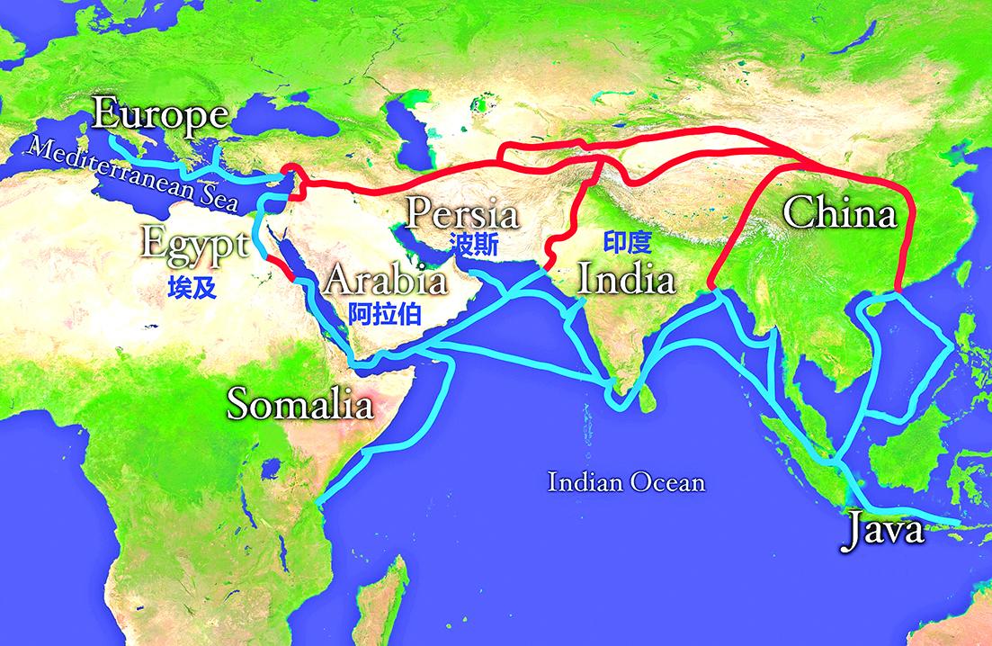 紅色路線為陸上絲綢之路;藍色路線為海上絲綢之路。(Wikiality123_Wikimedia Commons)