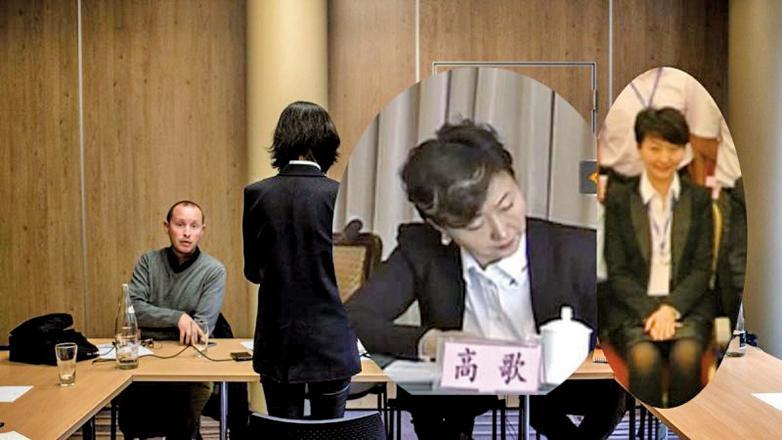 在法國經常背對鏡頭受訪的Grace Meng,被揭原名高歌,曾任中共山東省政協常委和民建青島市委副主任。(Getty Images/合成圖片)