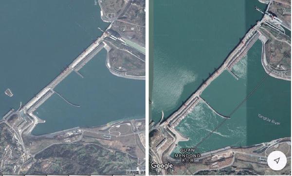 █華裔經濟學者「冷山」在其社交網站推特上傳三峽前(左圖)後(右圖)對比的衛星圖片,並指大壩已經變形。(網絡圖片)
