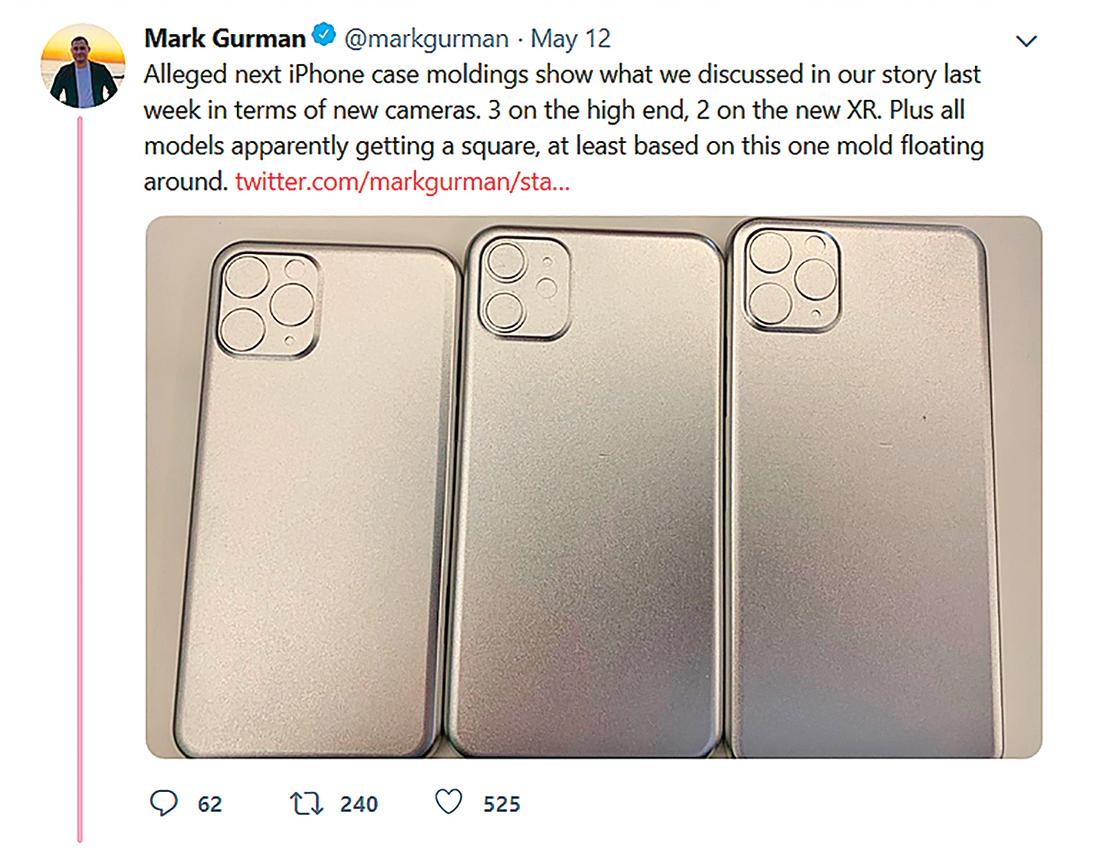 古爾曼在推特上發佈的照片顯示,新款iPhone將有三個鏡頭。(網頁截圖)
