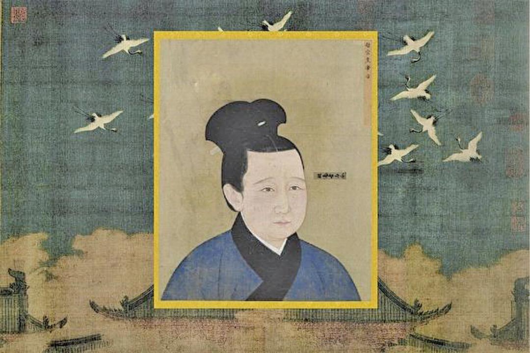 宋哲宗孟皇后像,出自《宋代後半像冊》,北京故宮南熏殿舊藏。背景:北宋徽宗趙佶《瑞鶴圖》,遼寧省博物館藏。(公有領域)