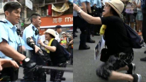 香港媽媽下跪被警察推開。(「香港電台視像新聞 RTHK VNEWS」影片截圖)