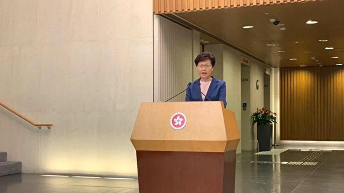 香港特首林鄭月娥7月9日在香港特首辦召開記者會,首次承認《逃犯條例》修訂完全失敗。(李逸/大紀元)