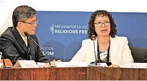 「宗教自由部長級會議」發言 法輪功學員經歷感動與會者