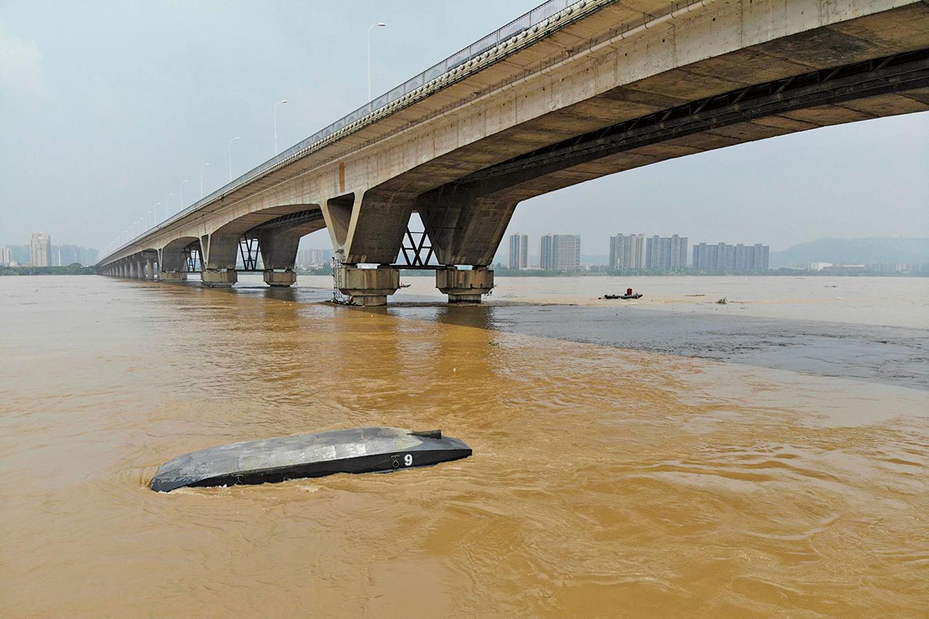 7月,湘江全線超警戒水位,長沙段逼近歷史最高值。(大紀元資料室)