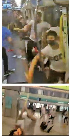白衣人在元朗西鐵站內及車廂內見人就用鐵通棍棒打,或拳打腳踢。( 視頻截圖)